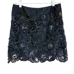 XXI Sequined Embroidered Lace Miniskirt